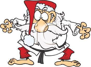 350x257 Cartoon Of Santa Claus Taking Karate Lessons