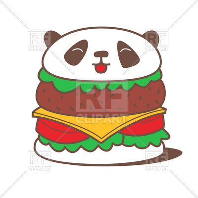 400x400 Funny Kawaii Burger With Panda Head Royalty Free Vector Clip Art