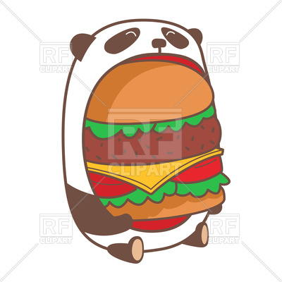 400x400 Hungry Kawaii Panda Eating Huge Burger Royalty Free Vector Clip