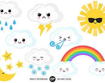340x270 Kawaii Digital Stamps Weather Line Art Rainbow Clip Art