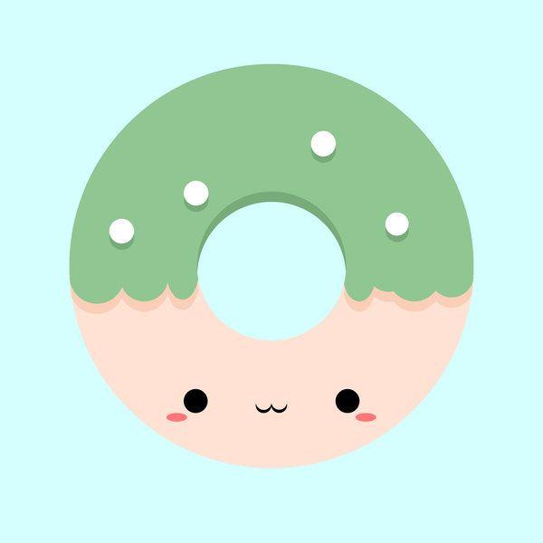600x600 Kawaii Donut By Reyokpoe Print Image Clip Art