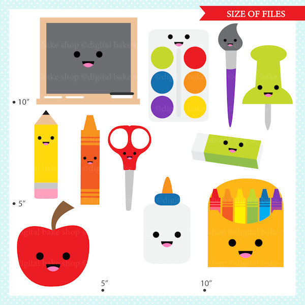 600x600 Kawaii School Clip Art Digital Clipart