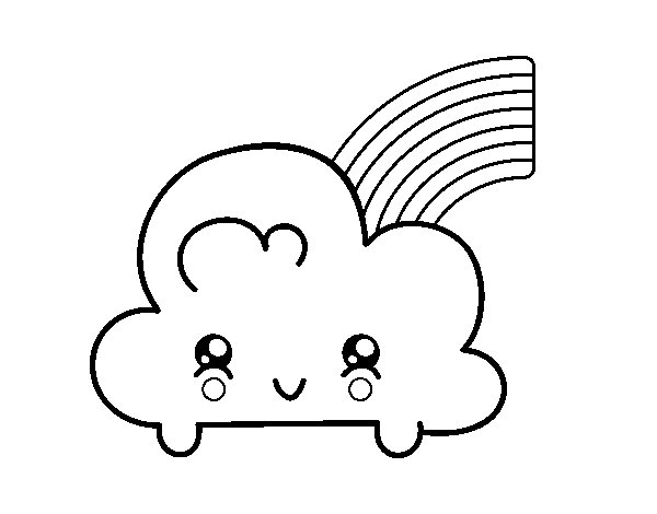 600x470 Kawaii Coloring Pages Cloud With Rainbow