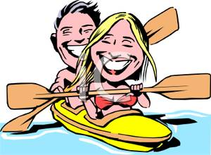 300x220 Colorful Cartoon Of A Couple Rowing A Kayak