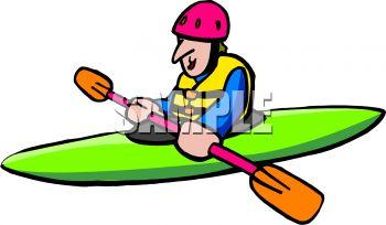 350x204 Cartoon Of A Man In A Kayak