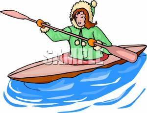 300x231 Girl Rowing A Kayak