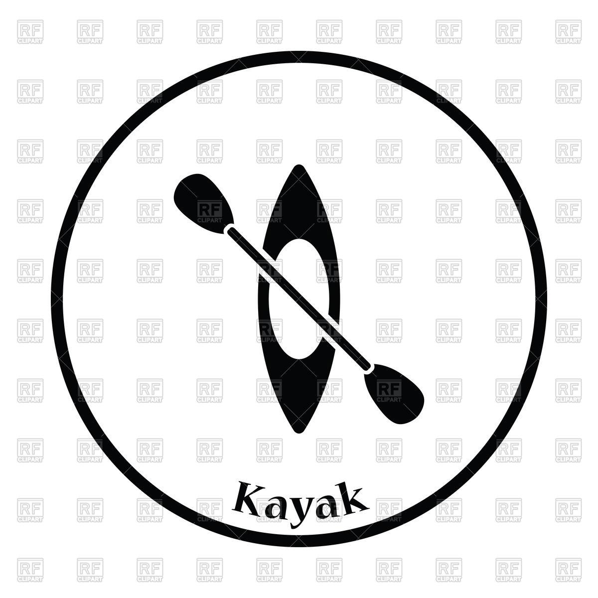 1200x1200 Thin Circle Design Of Kayak And Paddle Icon Royalty Free Vector