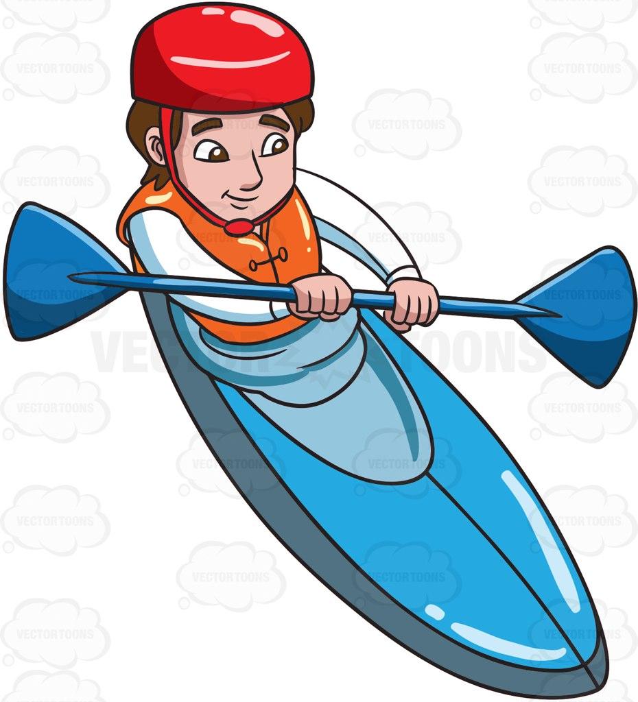 930x1024 A Man Paddling Kayak Cartoon Clipart