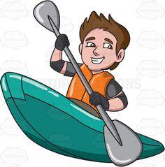 236x239 A Relaxed Woman Paddling A Kayak Kayak Boats