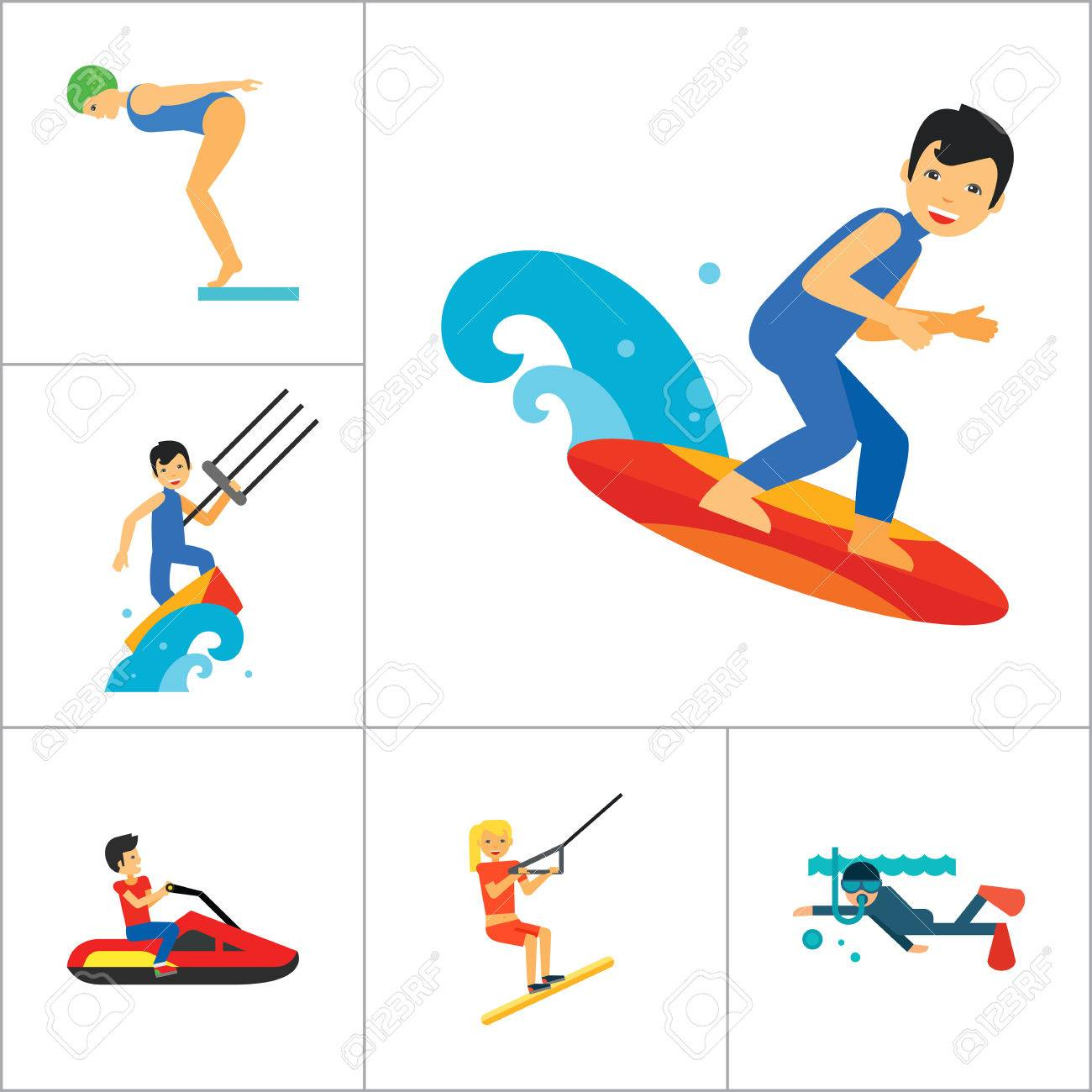 1300x1300 Water Sport Icon Set. Waterskiing Water Jumping Diving Water
