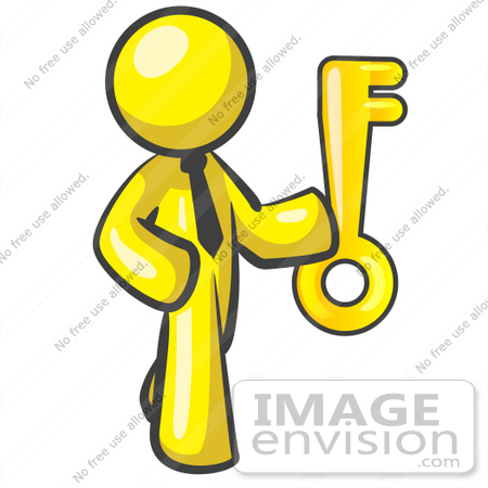 450x450 Clip Art Graphic of a Yellow Guy Character Holding a Key