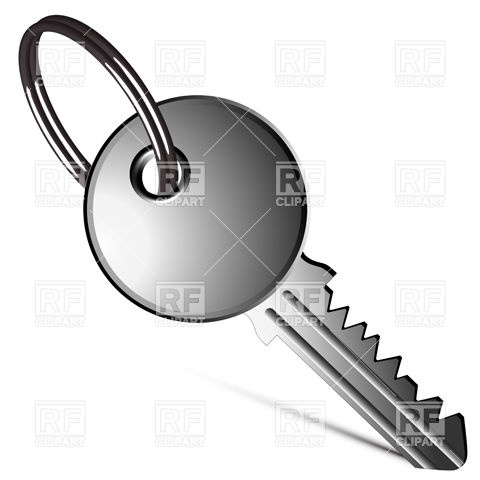 480x480 Silver Key With Key Ring Royalty Free Vector Clip Art Image