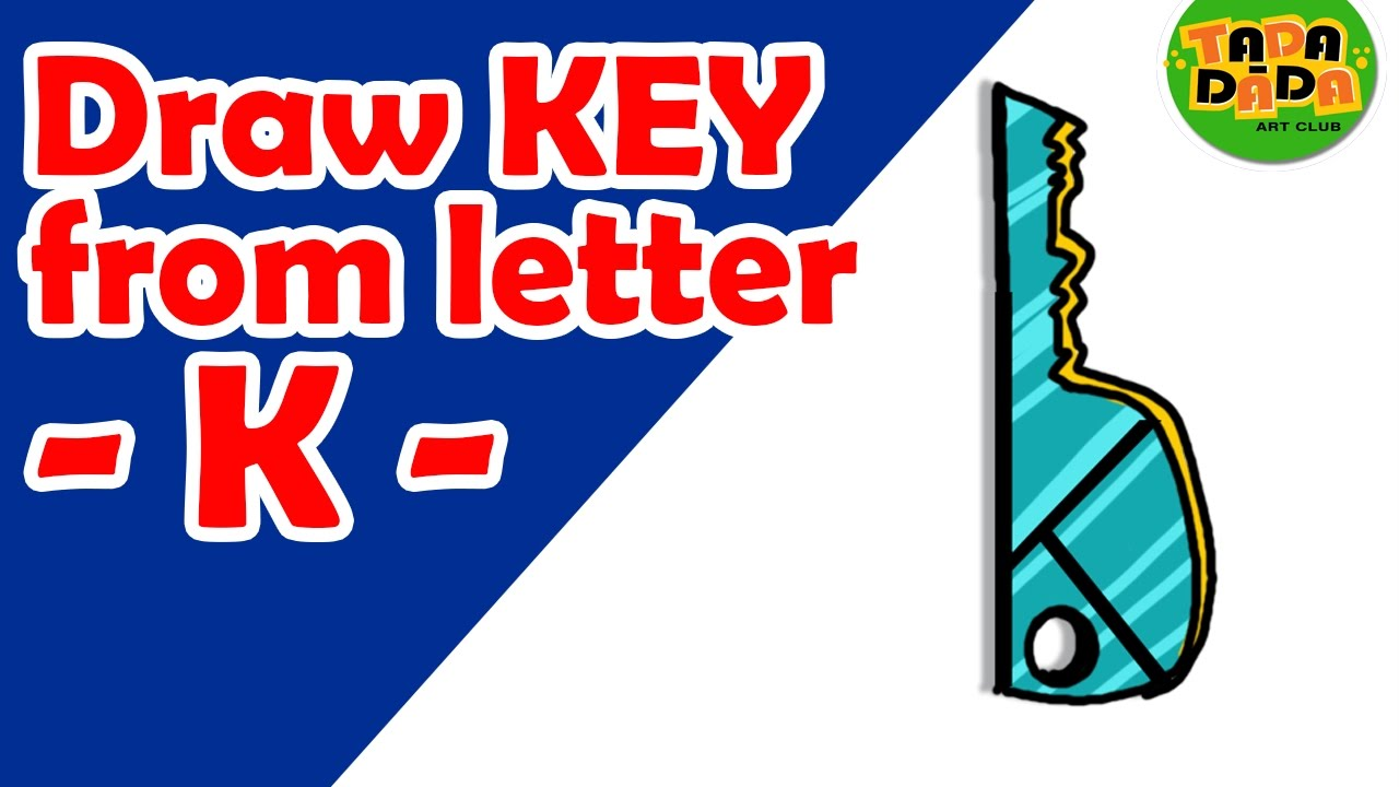 1280x720 Learn To Draw Key From Letter K Step By Step Kids Drawing