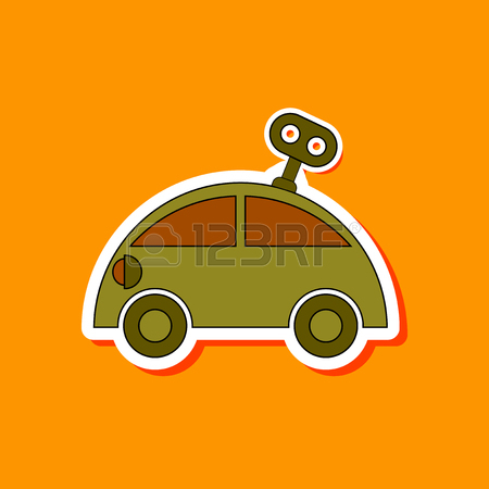 450x450 Flat Icon On Background Kids Toy Car With Key Royalty Free