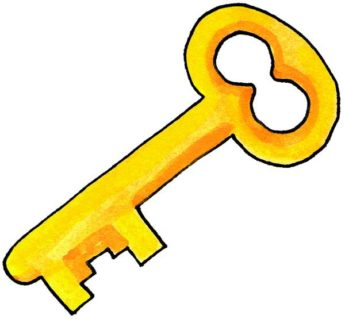 345x319 Yellow Key Clipart Collection