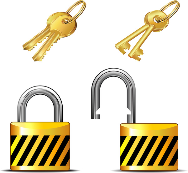 600x552 Key And Lock Set Free Vector In Adobe Illustrator Ai ( Ai