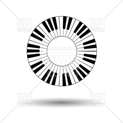 400x400 Piano Circle Keyboard Icon Royalty Free Vector Clip Art Image