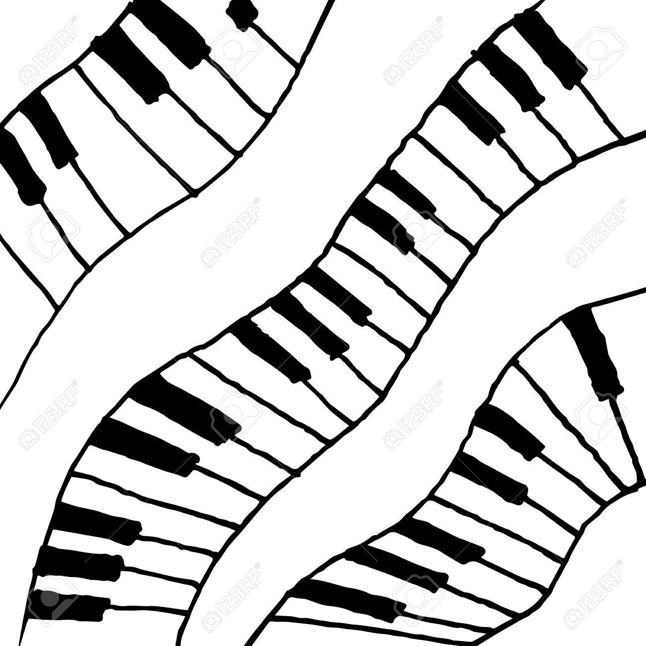 1300x1300 Piano Keys Sketch. Abstract Music Background. Monochrome Design