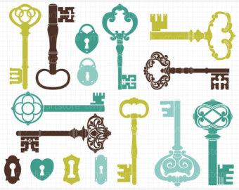 340x270 Skeleton Key Clipart Etsy