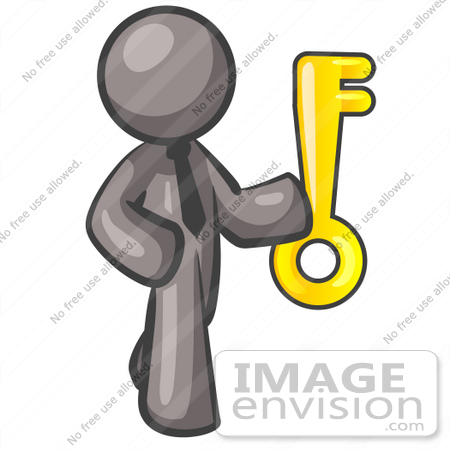 450x450 Clip Art Graphic Of A Grey Guy Character Holding A Gold Key