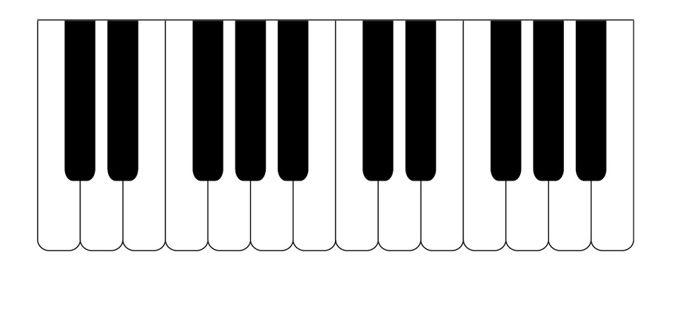 982x445 Piano Key Clipart