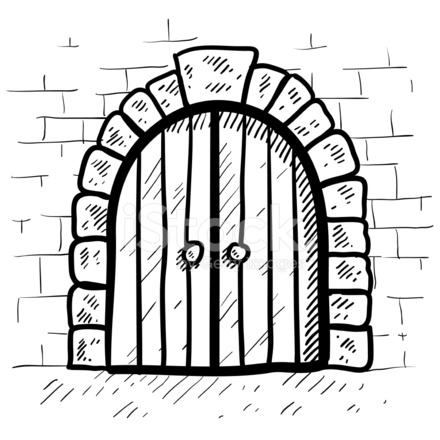 440x440 Strong Castle Door With Arch And Keystone Sketch Stock Vector