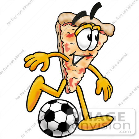 450x450 Clip Art Graphic Of A Cheese Pizza Slice Cartoon Character Kicking
