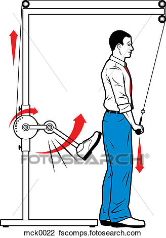 328x470 Clip Art Of A Man With A Pulley System That Is Kicking Him Mck0022