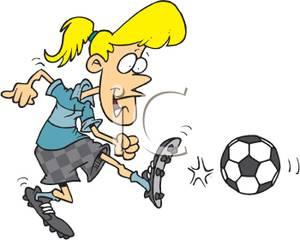 300x240 Girl Kicking A Soccer Ball Clip Art Image