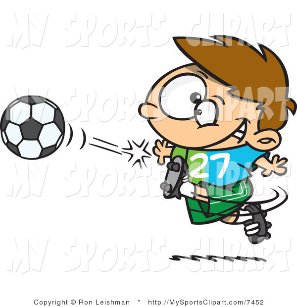 600x620 Sports Clip Art of a Young Boy Kicking a Soccer Ball by toonaday