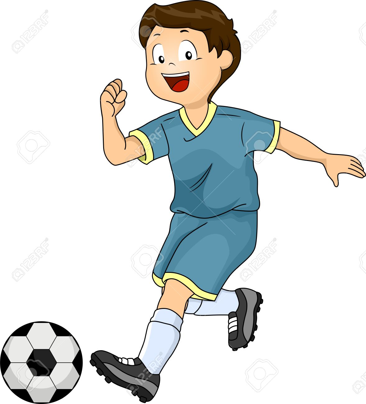 1178x1300 Illustration Of A Little Boy Kicking A Soccer Ball Stock Photo