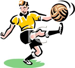 300x274 Man Kicking A Soccer Ball Clipart Picture
