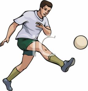 288x300 Clipart Picture Of A Man Kicking A Soccer Ball
