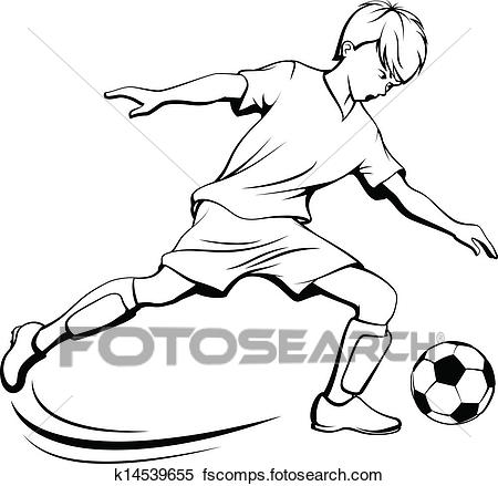 450x439 Clipart Of Soccer Boy Kicking K14539655