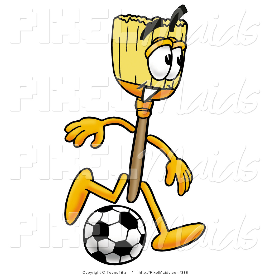 1024x1044 Clipart Of A Broom Mascot Cartoon Character Kicking A Black