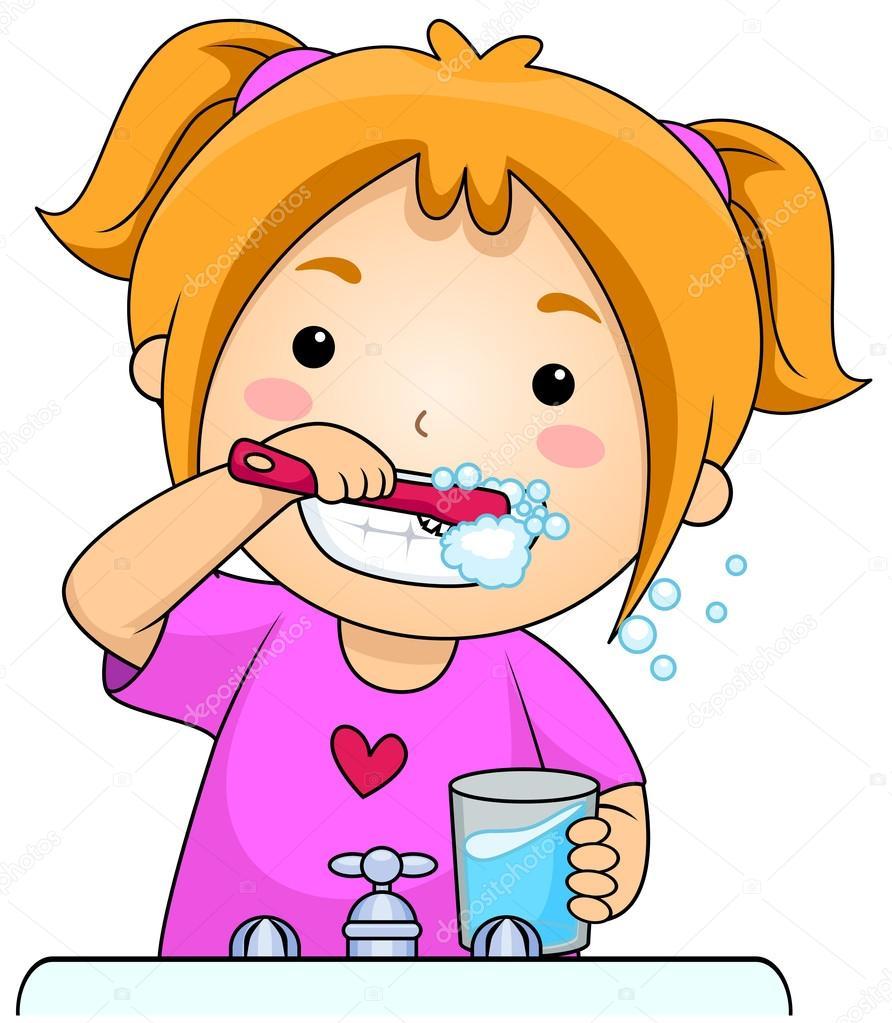 892x1023 Kid Brushing Teeth Stock Photo Lenmdp