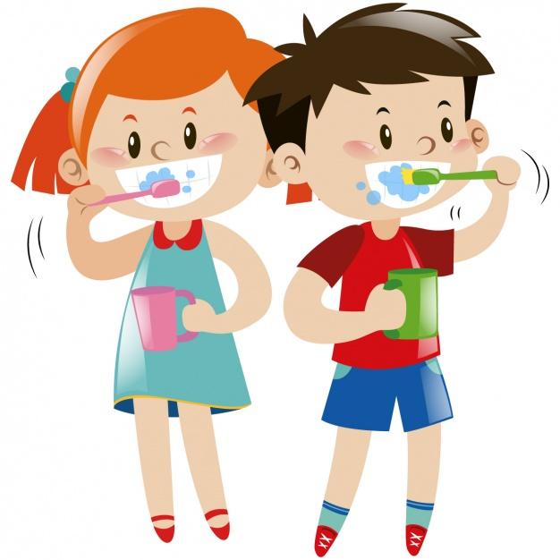 626x626 Kids Brushing Their Teeth Vector Free Download