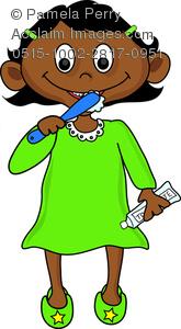 165x300 Art Illustration Of A Hispanic Girl Toddler Brushing Her Teeth