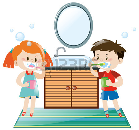 450x420 Little Boy Brushing Teeth In Toilet Illustration Royalty Free