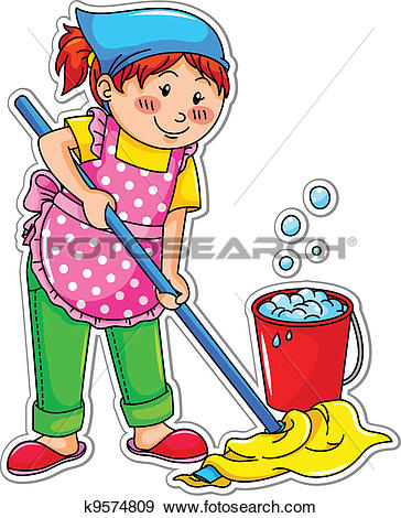 364x470 Child Clipart Cleaning House