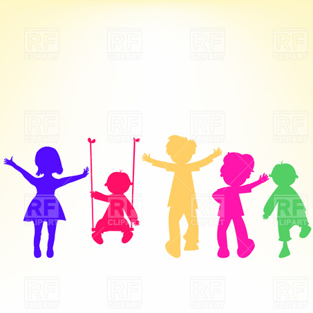 453x453 Kids In Winter Clothes Join Hands Royalty Free Vector Clip Art