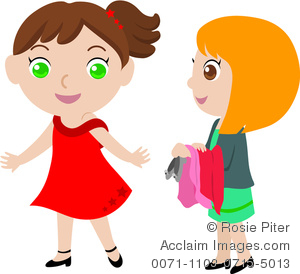 300x274 Clipart Image Of Little Girls Trying On Clothes