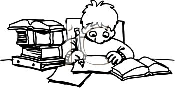 350x176 Black And White Cartoon Of Schoolboy Doing Homework Royalty Free
