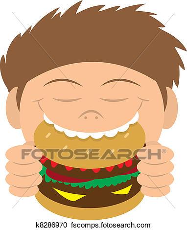 382x470 Clipart Of Kid Eating Hamburger K8286970