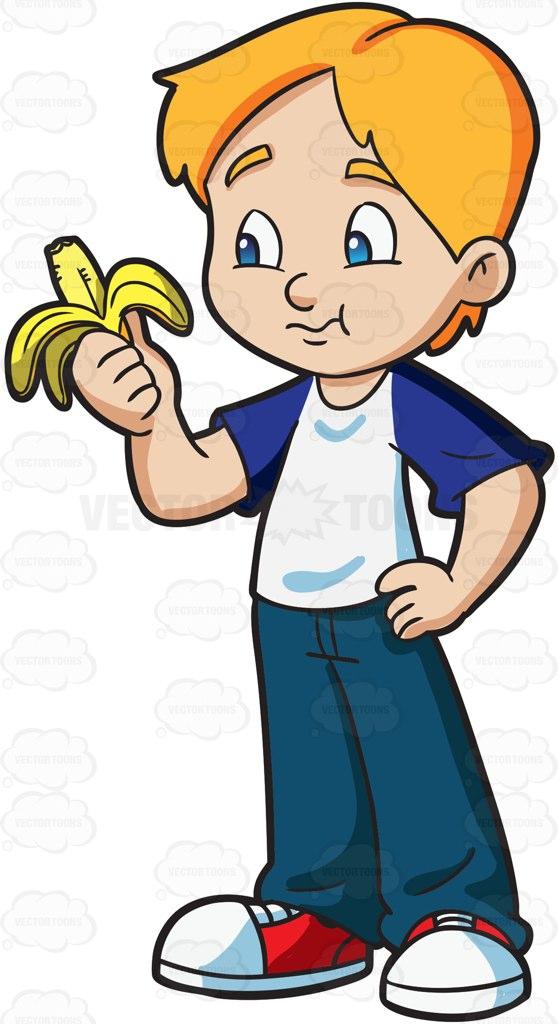 558x1024 A Boy Eating A Banana Cartoon, Illustrators And Drawings