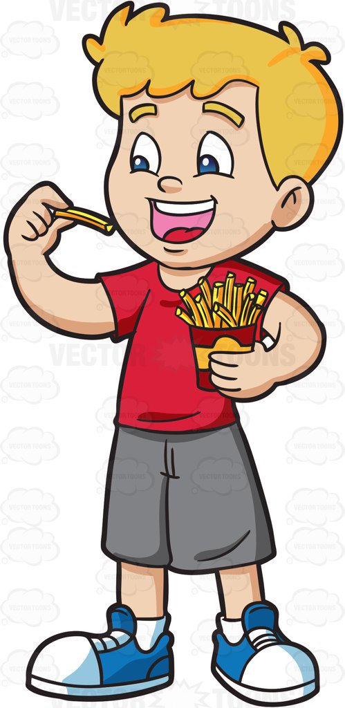 499x1024 A Boy Excitedly Eats A Pack Of French Fries Cartoon Clipart