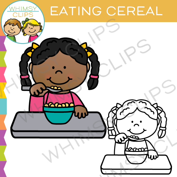 600x600 Kid Eating Cereal Clip Art , Images Amp Illustrations Whimsy Clips