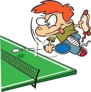 349x350 Royalty Free Cliprt Image Kid Playing Ping Pong While Eating