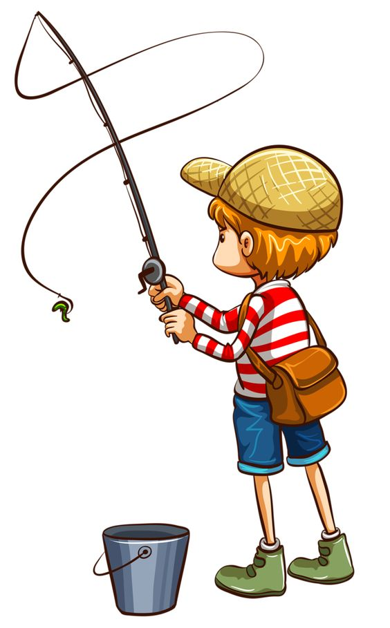 Kid Fishing Clipart