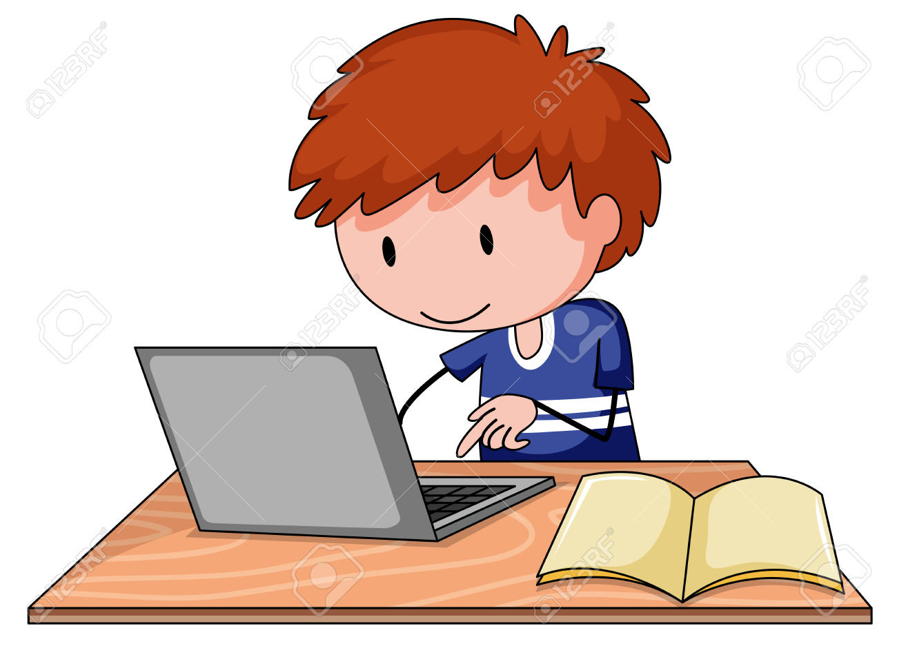 Kid On Computer Clipart